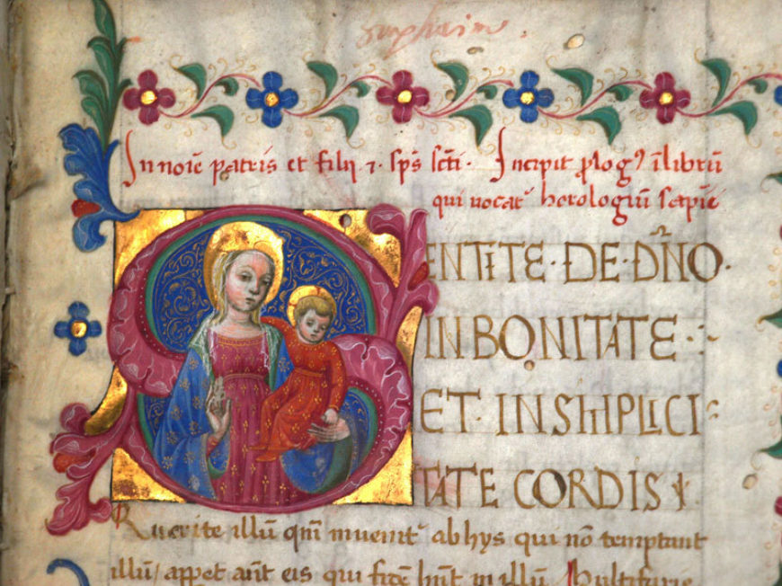 Henricus Suso: Horologium Sapientiae. 15th c. Pink initial 'S' containing Madonna and Child as no. 8, closer up.