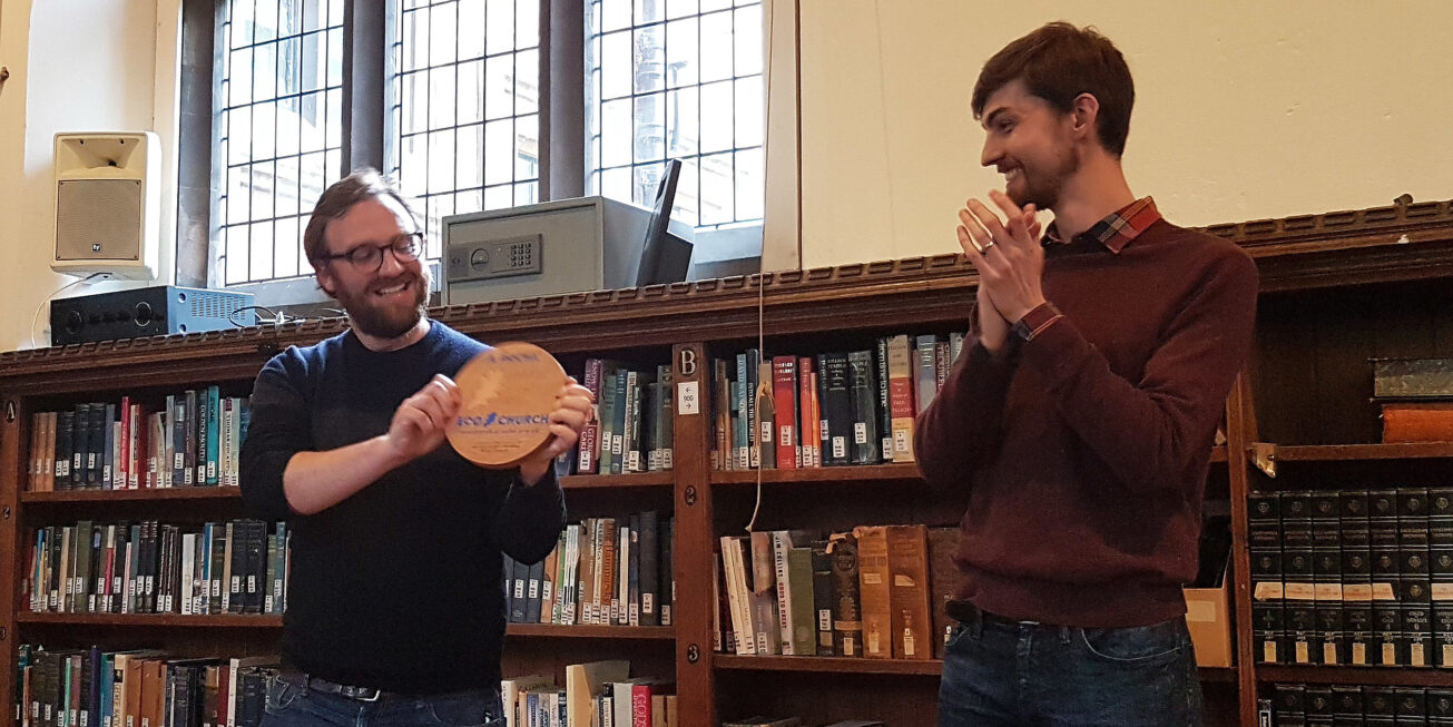 Student Mission Deacons present the award at a 2019 Common Room Meeting
