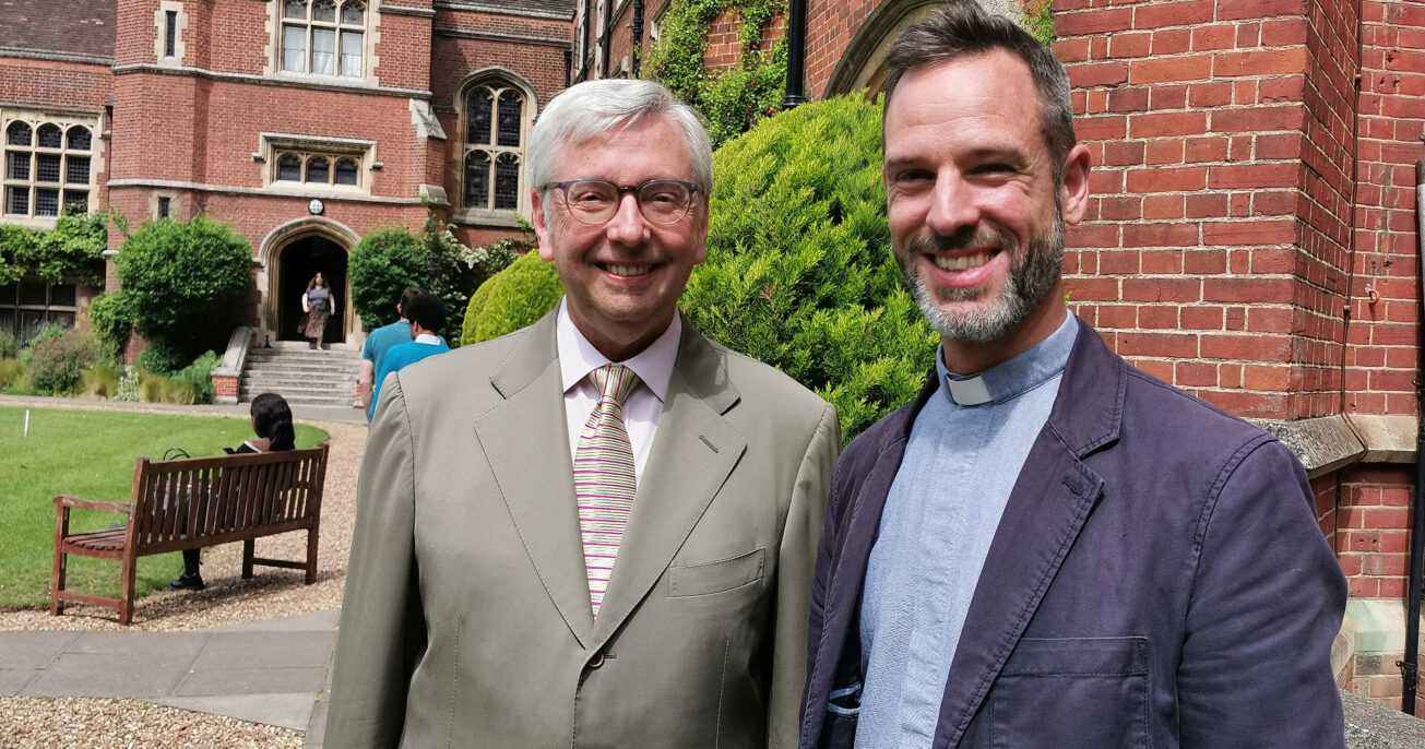 The Vice-Chancellor of the University of Cambridge, Stephen Toope, with the Principal of Ridley, Michael Volland