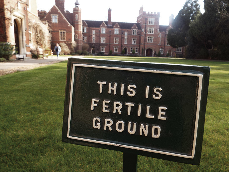 Image of the lawns with 'This is Fertile Ground' sign