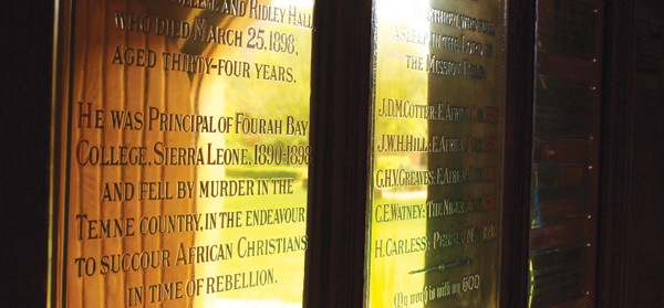 Photograph of plaques commemorating Ridleian missionaries